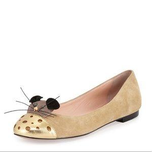 Kate Spade Cream Suede Mouse Ballet Flats